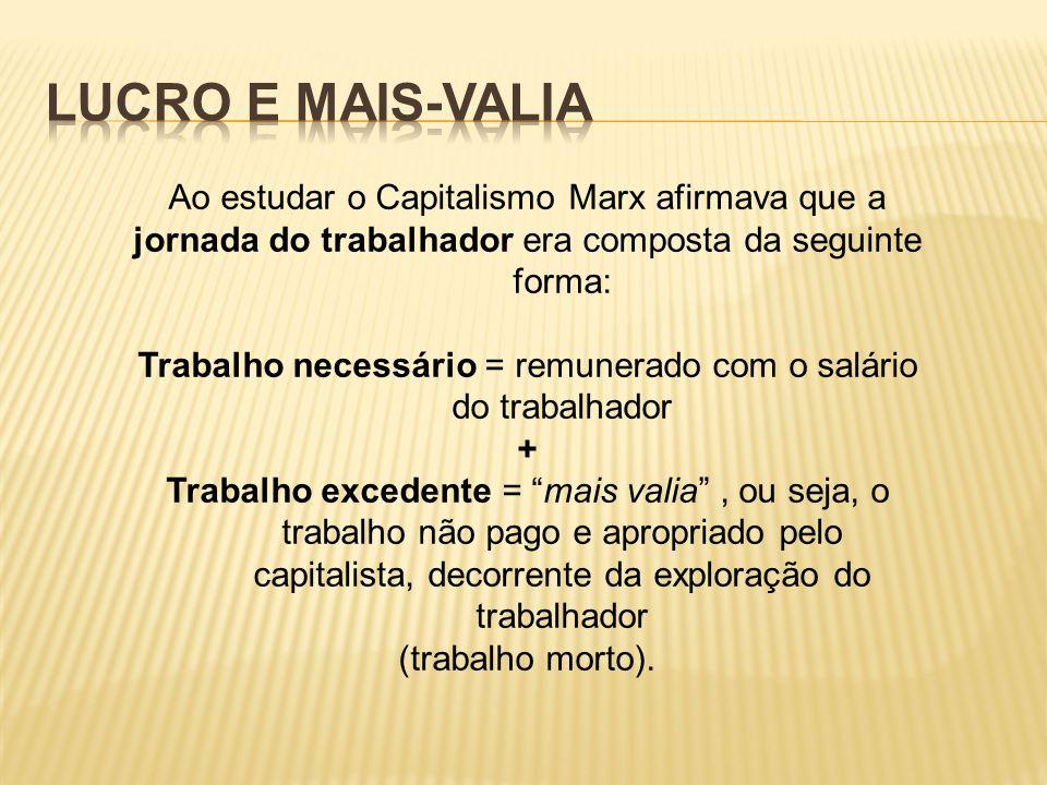 Ao estudar o Capitalismo Marx afirmava que a jornada do trabalhador era composta da seguinte forma: Trabalho necessário = remunerado com o salário do