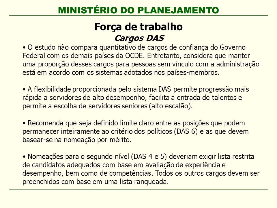 MINISTÉRIO DO PLANEJAMENTO Força de trabalho Cargos DAS O estudo não compara quantitativo de cargos de confiança do Governo Federal com os demais país