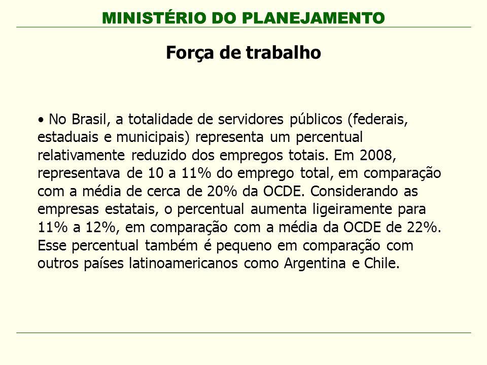 MINISTÉRIO DO PLANEJAMENTO Força de trabalho No Brasil, a totalidade de servidores públicos (federais, estaduais e municipais) representa um percentua