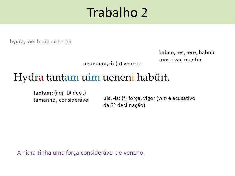 Trabalho 2 Hydra tantam uim ueneni habŭit. A hidra tinha uma força considerável de veneno. habeo, -es, -ere, habui: conservar, manter hydra, -ae: hidr