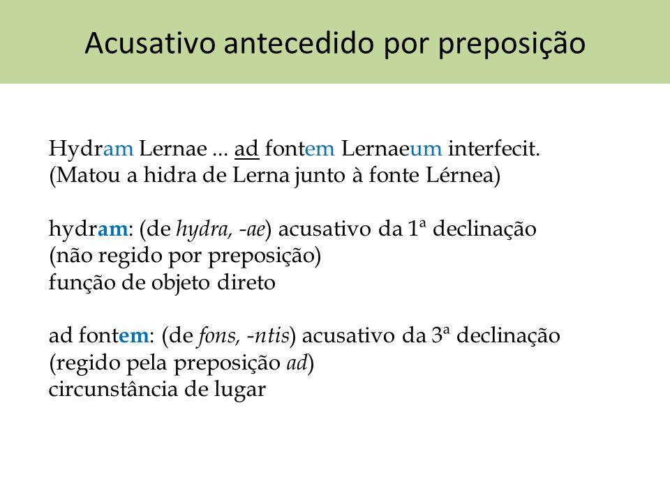 Acusativo antecedido por preposição Hydram Lernae... ad fontem Lernaeum interfecit. (Matou a hidra de Lerna junto à fonte Lérnea) hydr am : (de hydra,