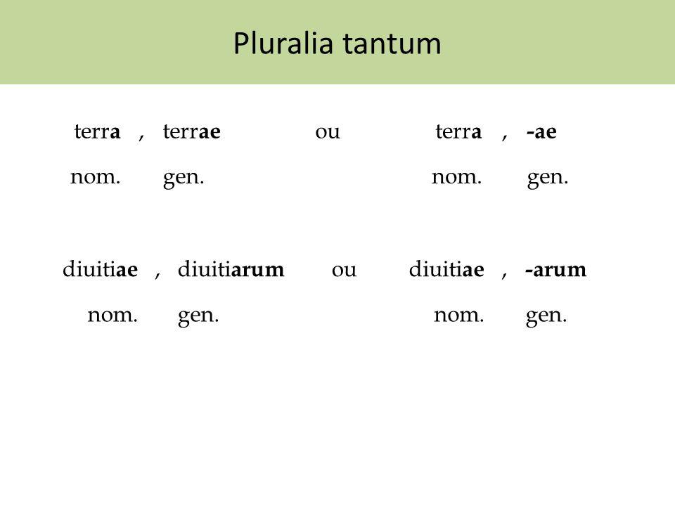 Pluralia tantum terr a,terr ae outerr a, -ae nom.gen.nom.gen. diuiti ae,diuiti arum oudiuiti ae, -arum nom.gen.nom.gen.
