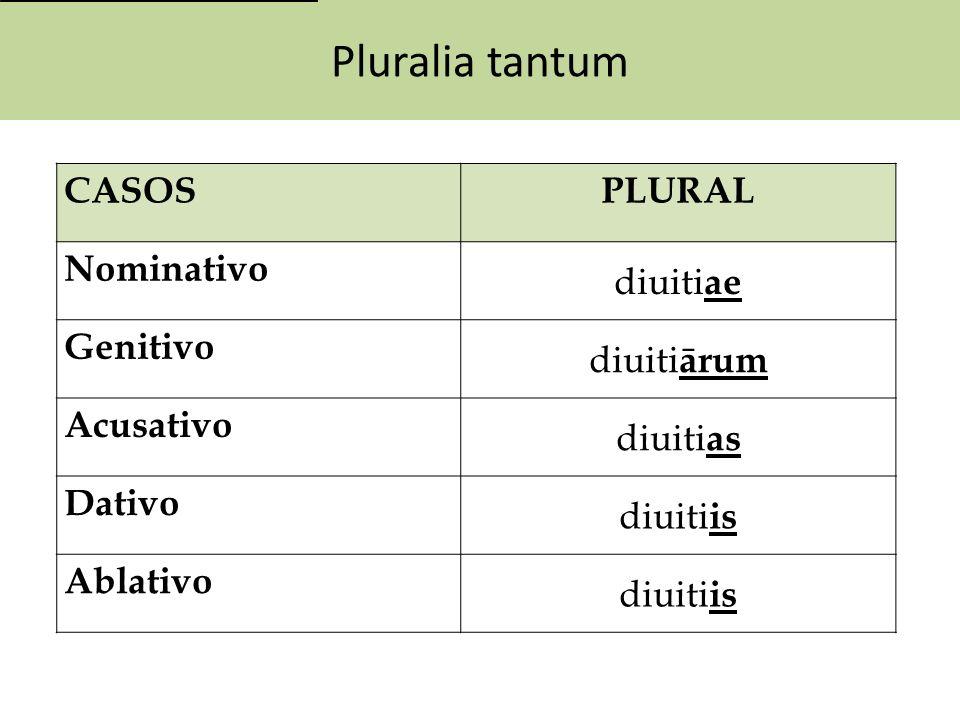 Pluralia tantum CASOSPLURAL Nominativo diuiti ae Genitivo diuiti ārum Acusativo diuiti as Dativo diuiti is Ablativo diuiti is
