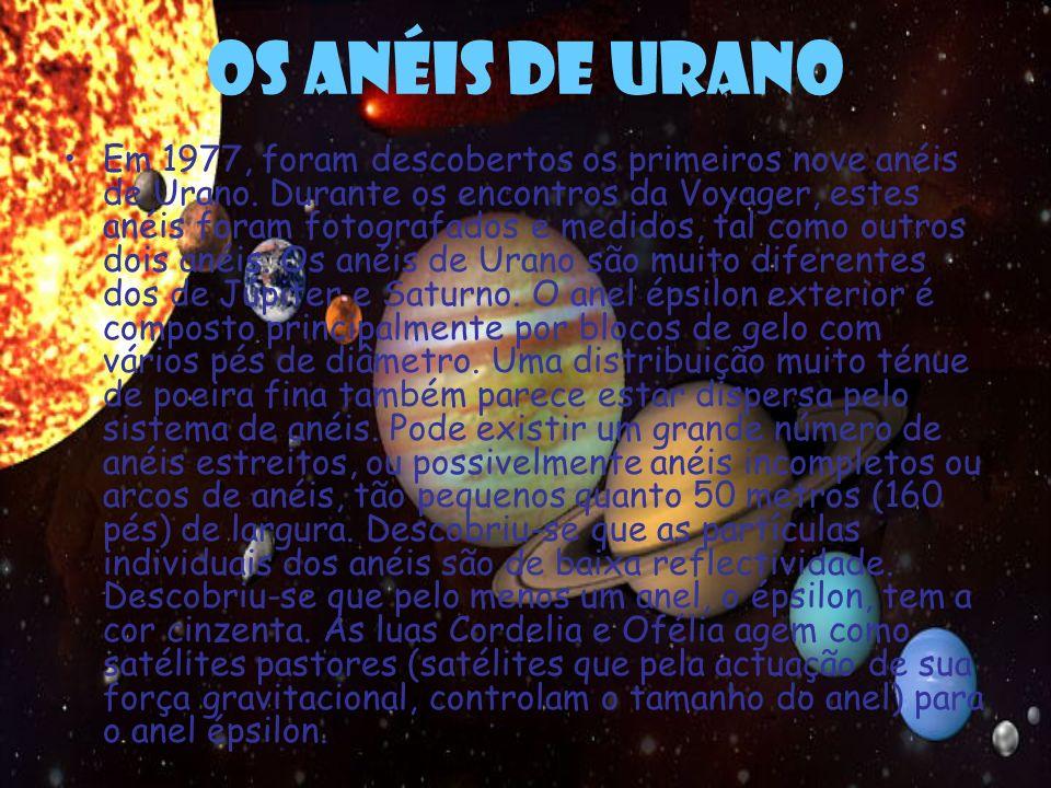 Os anéis de Urano Em 1977, foram descobertos os primeiros nove anéis de Urano. Durante os encontros da Voyager, estes anéis foram fotografados e medid