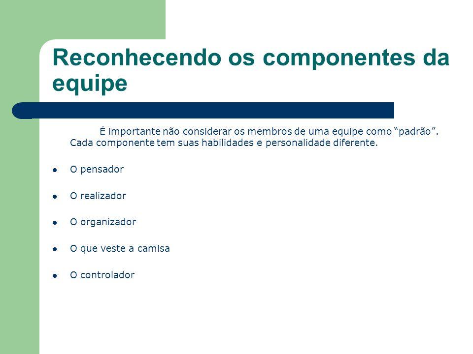 Reconhecendo os componentes da equipe É importante não considerar os membros de uma equipe como padrão.