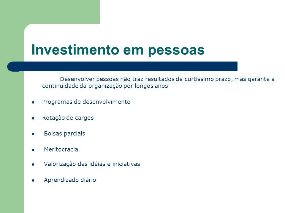 Investimento em pessoas Desenvolver pessoas não traz resultados de curtíssimo prazo, mas garante a continuidade da organização por longos anos Programas de desenvolvimento Rotação de cargos Bolsas parciais Meritocracia.