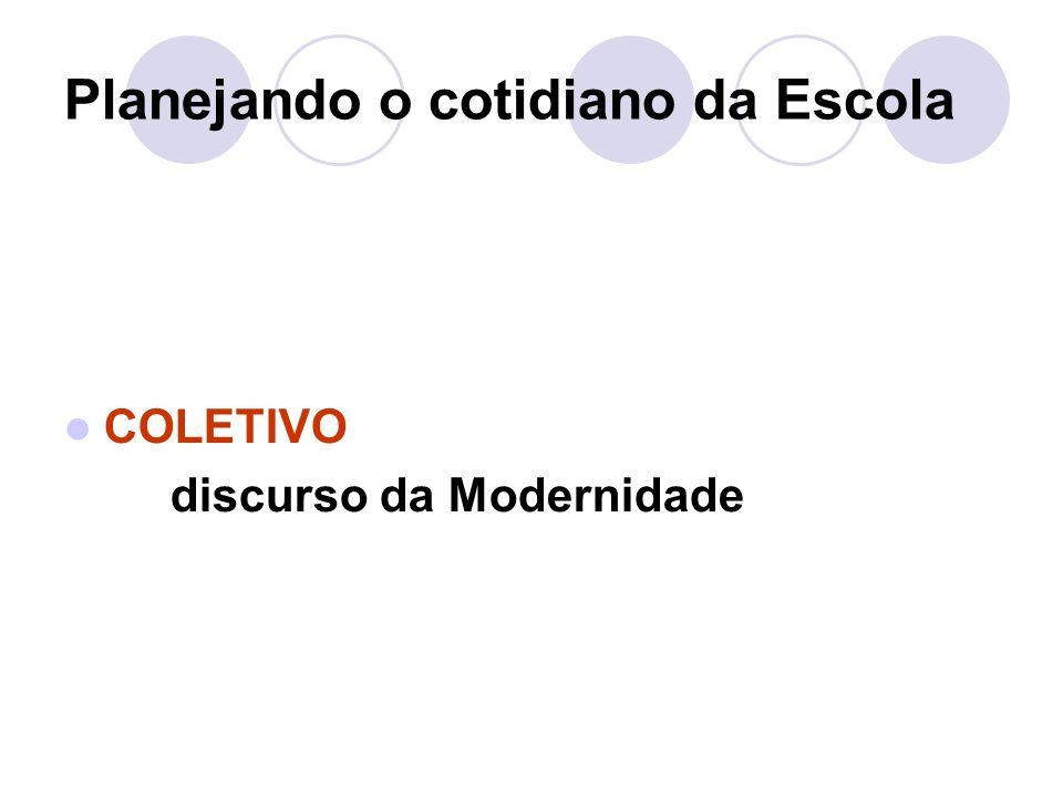 Planejando o cotidiano da Escola COLETIVO discurso da Modernidade