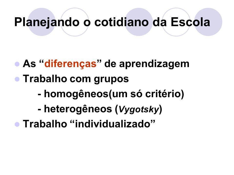Planejando o cotidiano da Escola As diferenças de aprendizagem Trabalho com grupos - homogêneos(um só critério) - heterogêneos ( Vygotsky ) Trabalho individualizado