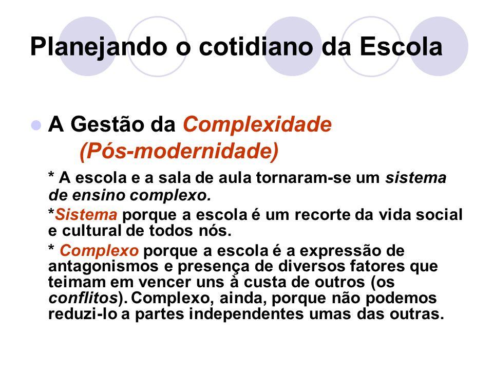 Planejando o cotidiano da Escola A Gestão da Complexidade (Pós-modernidade) * A escola e a sala de aula tornaram-se um sistema de ensino complexo.