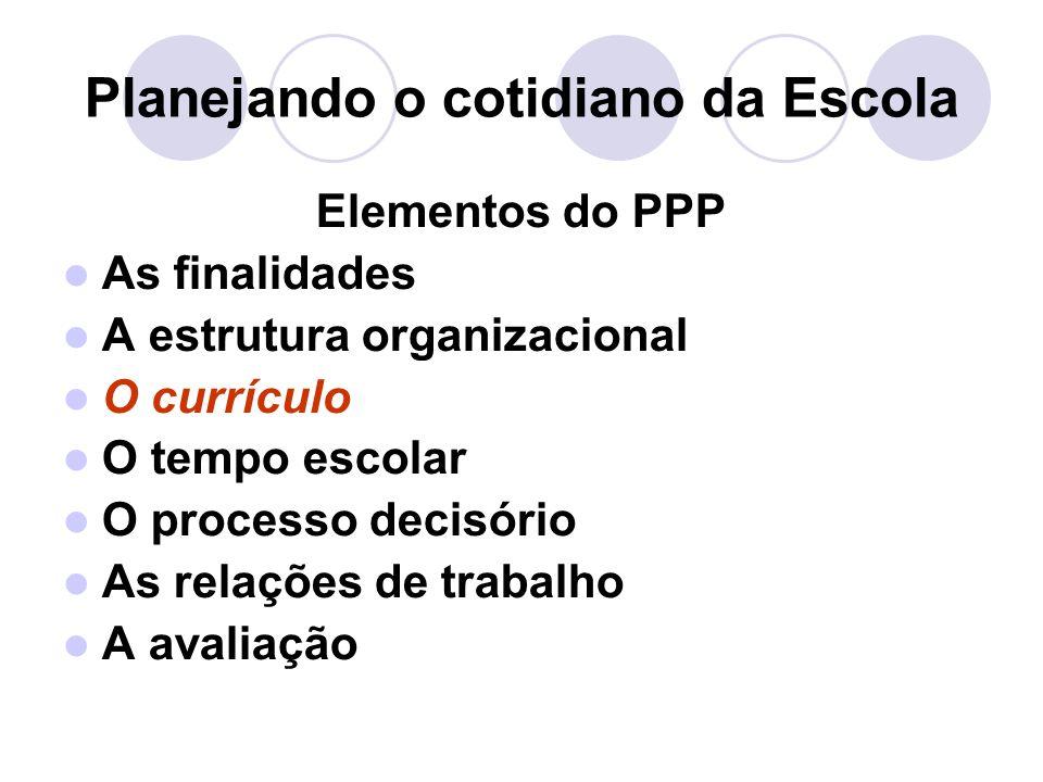 Planejando o cotidiano da Escola Elementos do PPP As finalidades A estrutura organizacional O currículo O tempo escolar O processo decisório As relações de trabalho A avaliação