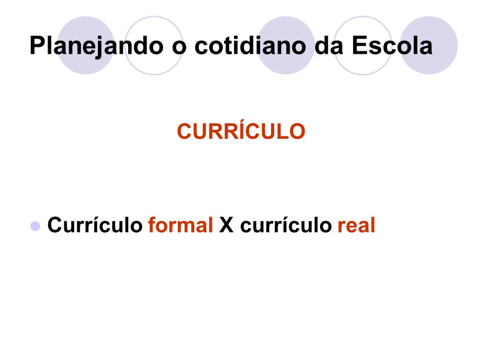 Planejando o cotidiano da Escola CURRÍCULO Currículo formal X currículo real