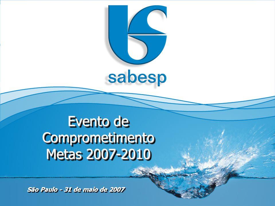 32 Metas de Atendimento - Água Previsto 2007200820092010 Sabesp Diretoria Metropolitana Diretoria de Sistemas Regionais Atendimento em Abastecimento de Água SABESP e Diretorias Previsto 2007200820092010Total Sabesp148,8166,9164,3172,0652,1 Diretoria Metropolitana86,796,989,387,6360,5 Diretoria de Sistemas Regionais62,170,075,084,4291,6 (valores em %) (valores em ligações X mil) Número de Novas Ligações de Água SABESP e Diretorias Manter a Universalização do Atendimento com Serviços de Abastecimento de Água