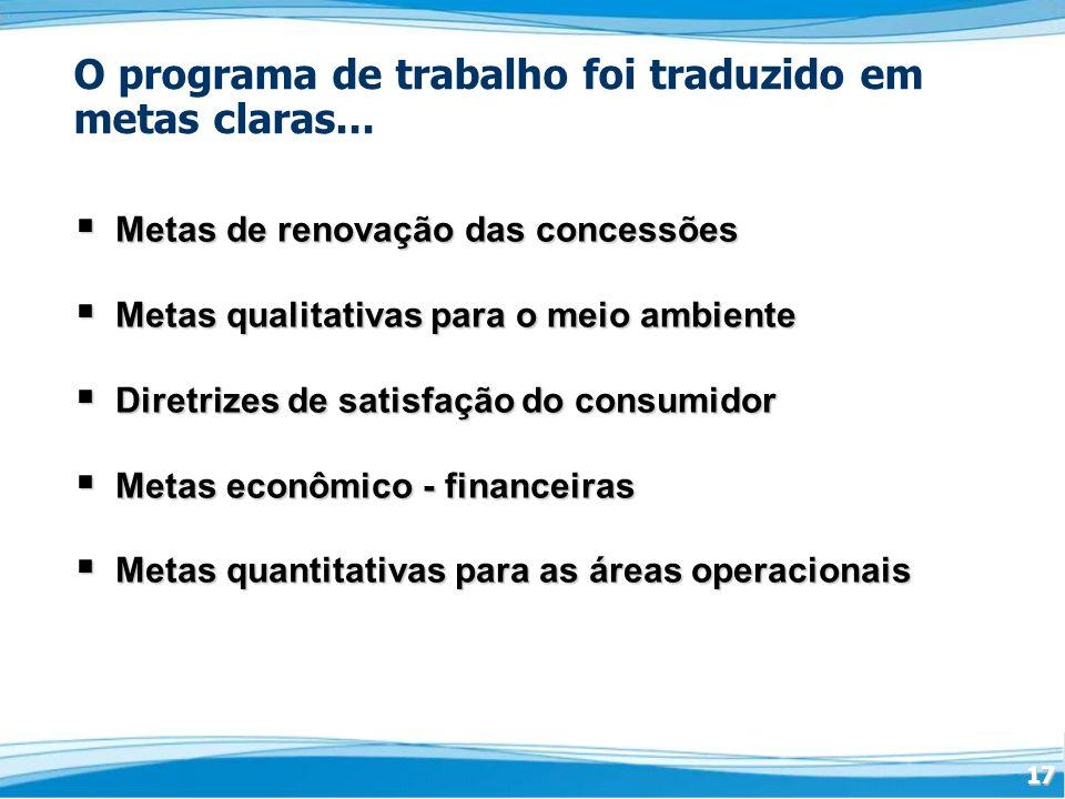17 O programa de trabalho foi traduzido em metas claras...
