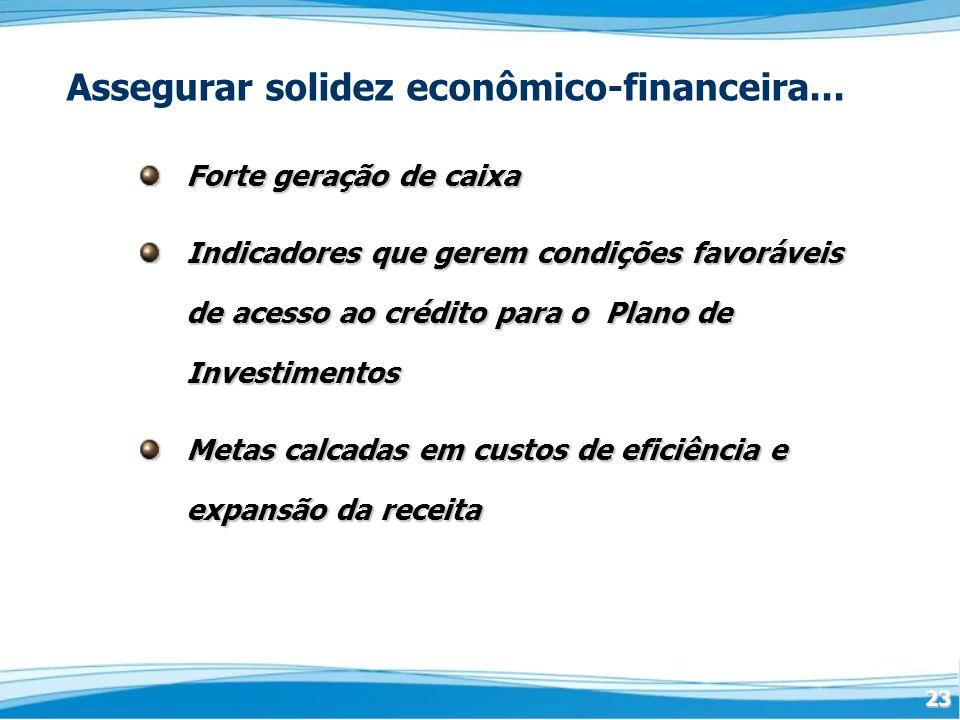 23 Assegurar solidez econômico-financeira... Forte geração de caixa Indicadores que gerem condições favoráveis de acesso ao crédito para o Plano de In