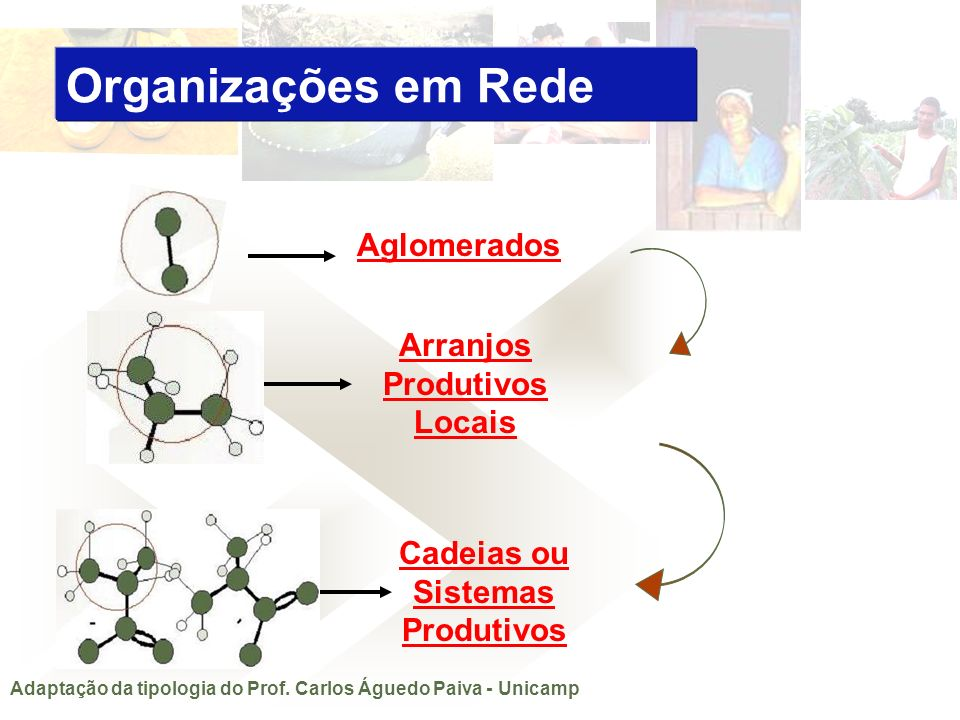 Aglomerados Arranjos Produtivos Locais Cadeias ou Sistemas Produtivos Adaptação da tipologia do Prof. Carlos Águedo Paiva - Unicamp Organizações em Re
