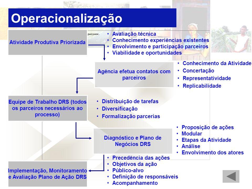 Atividade Produtiva Priorizada Agência efetua contatos com parceiros Implementação, Monitoramento e Avaliação Plano de Ação DRS Diagnóstico e Plano de Negócios DRS Equipe de Trabalho DRS (todos os parceiros necessários ao processo) Conhecimento da Atividade Concertação Representatividade Replicabilidade Avaliação técnica Conhecimento experiências existentes Envolvimento e participação parceiros Viabilidade e oportunidades Proposição de ações Modular Etapas da Atividade Análise Envolvimento dos atores Precedência das ações Objetivos da ação Público-alvo Definição de responsáveis Acompanhamento Distribuição de tarefas Diversificação Formalização parcerias Operacionalização