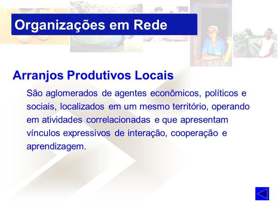 Arranjos Produtivos Locais São aglomerados de agentes econômicos, políticos e sociais, localizados em um mesmo território, operando em atividades correlacionadas e que apresentam vínculos expressivos de interação, cooperação e aprendizagem.