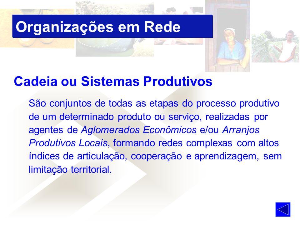 Cadeia ou Sistemas Produtivos São conjuntos de todas as etapas do processo produtivo de um determinado produto ou serviço, realizadas por agentes de A