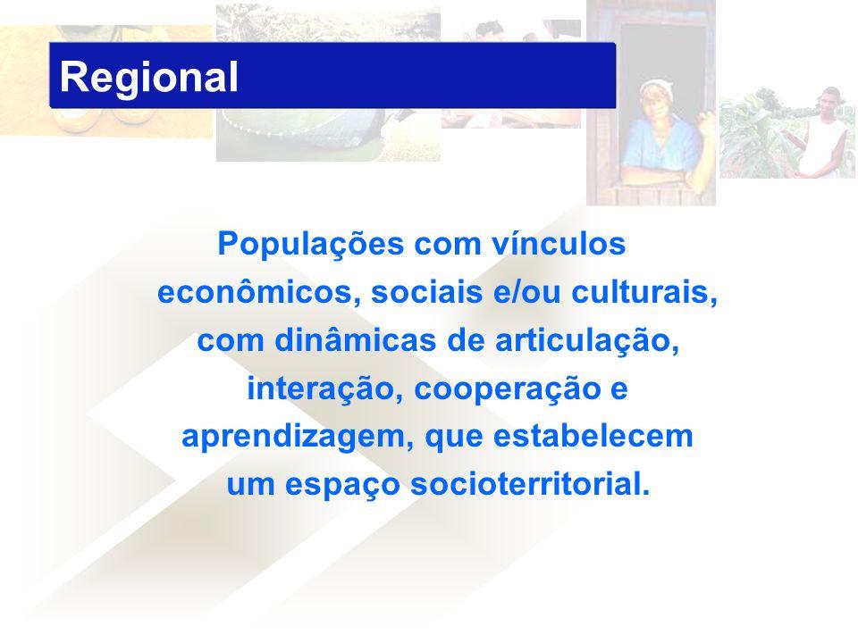 Populações com vínculos econômicos, sociais e/ou culturais, com dinâmicas de articulação, interação, cooperação e aprendizagem, que estabelecem um espaço socioterritorial.