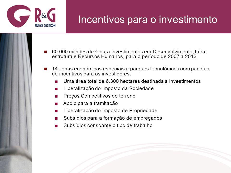 Incentivos para o investimento 60.000 milhões de para investimentos em Desenvolvimento, Infra- estrutura e Recursos Humanos, para o período de 2007 a 2013.