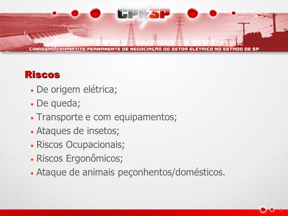Riscos De origem elétrica; De queda; Transporte e com equipamentos; Ataques de insetos; Riscos Ocupacionais; Riscos Ergonômicos; Ataque de animais peç