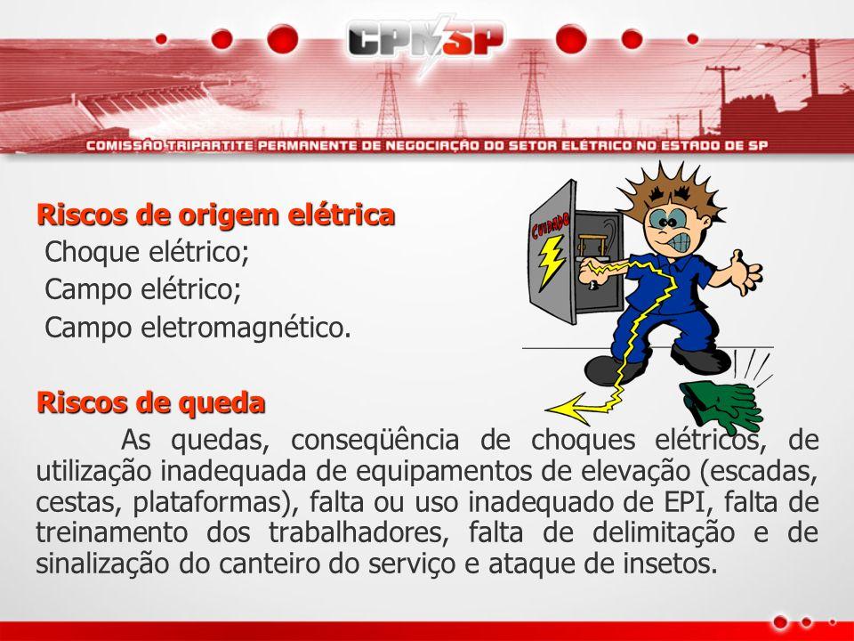 Riscos de origem elétrica Choque elétrico; Campo elétrico; Campo eletromagnético. Riscos de queda As quedas, conseqüência de choques elétricos, de uti