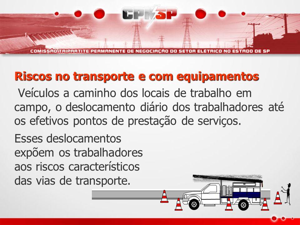 Riscos no transporte e com equipamentos Veículos a caminho dos locais de trabalho em campo, o deslocamento diário dos trabalhadores até os efetivos po