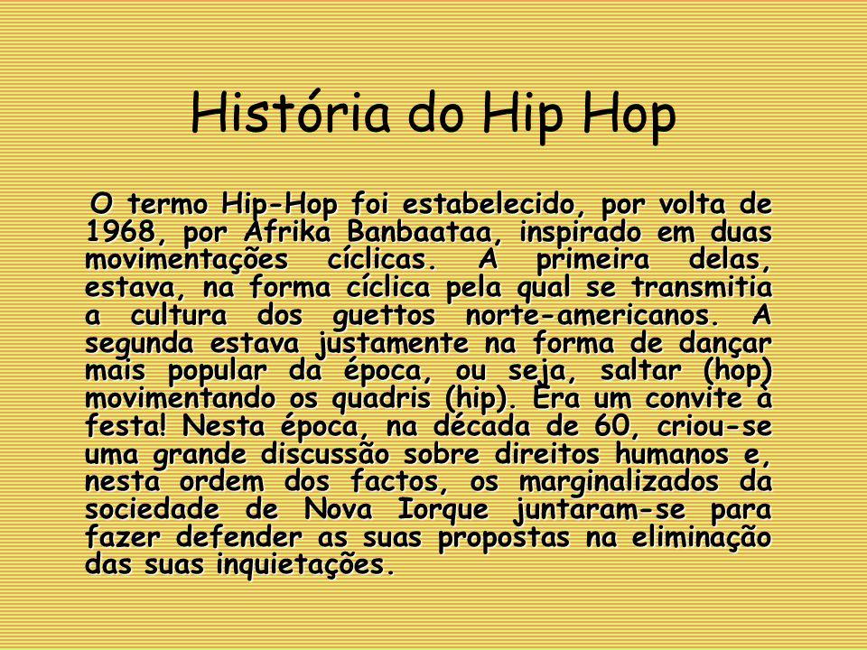 O termo Hip-Hop foi estabelecido, por volta de 1968, por Afrika Banbaataa, inspirado em duas movimentações cíclicas.