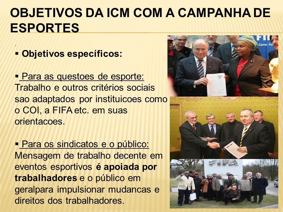 OBJETIVOS DA ICM COM A CAMPANHA DE ESPORTES.