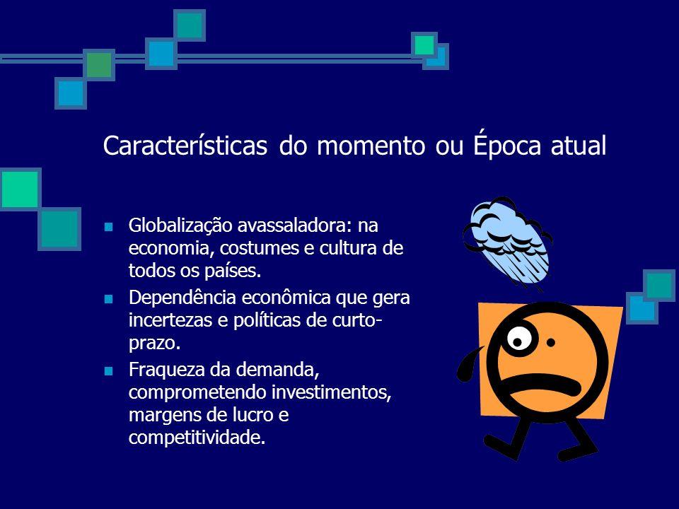 Características do momento ou Época atual Globalização avassaladora: na economia, costumes e cultura de todos os países.