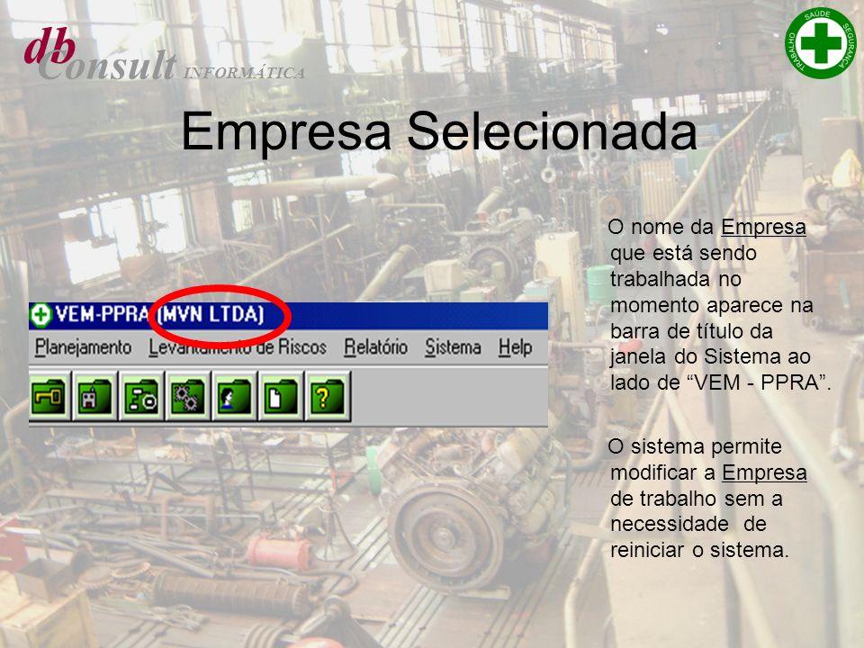 db Consult INFORMÁTICA Empresa Selecionada Empresa O nome da Empresa que está sendo trabalhada no momento aparece na barra de título da janela do Sist