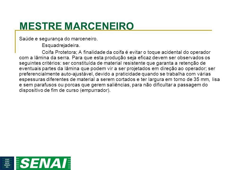 MESTRE MARCENEIRO Saúde e segurança do marceneiro.