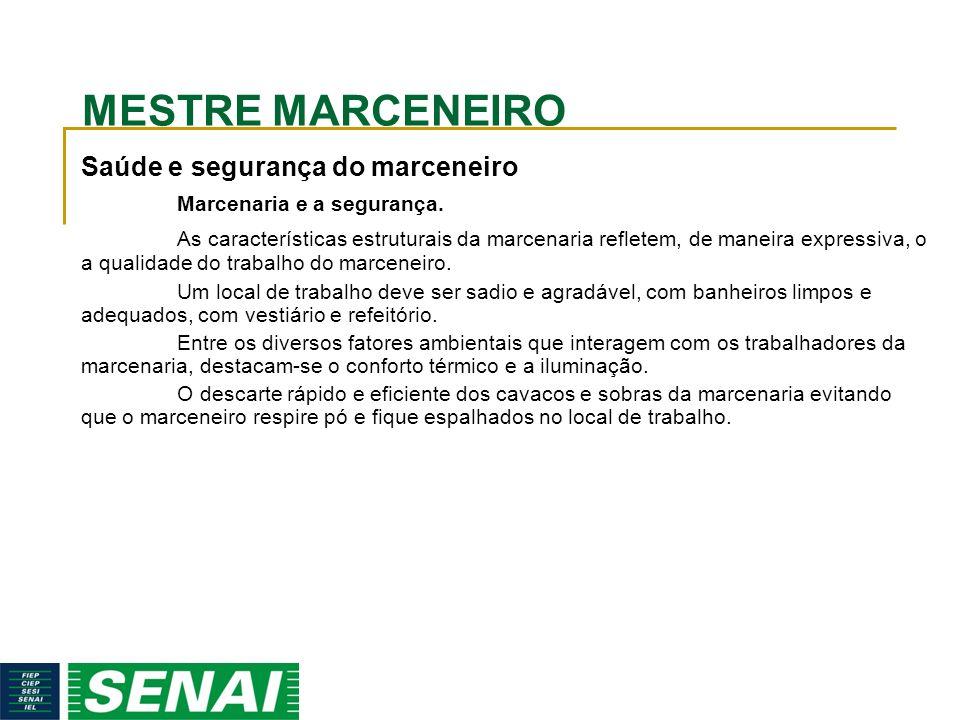 MESTRE MARCENEIRO Saúde e segurança do marceneiro Marcenaria e a segurança.