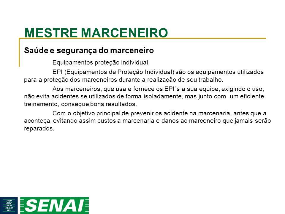 MESTRE MARCENEIRO Saúde e segurança do marceneiro Equipamentos proteção individual.
