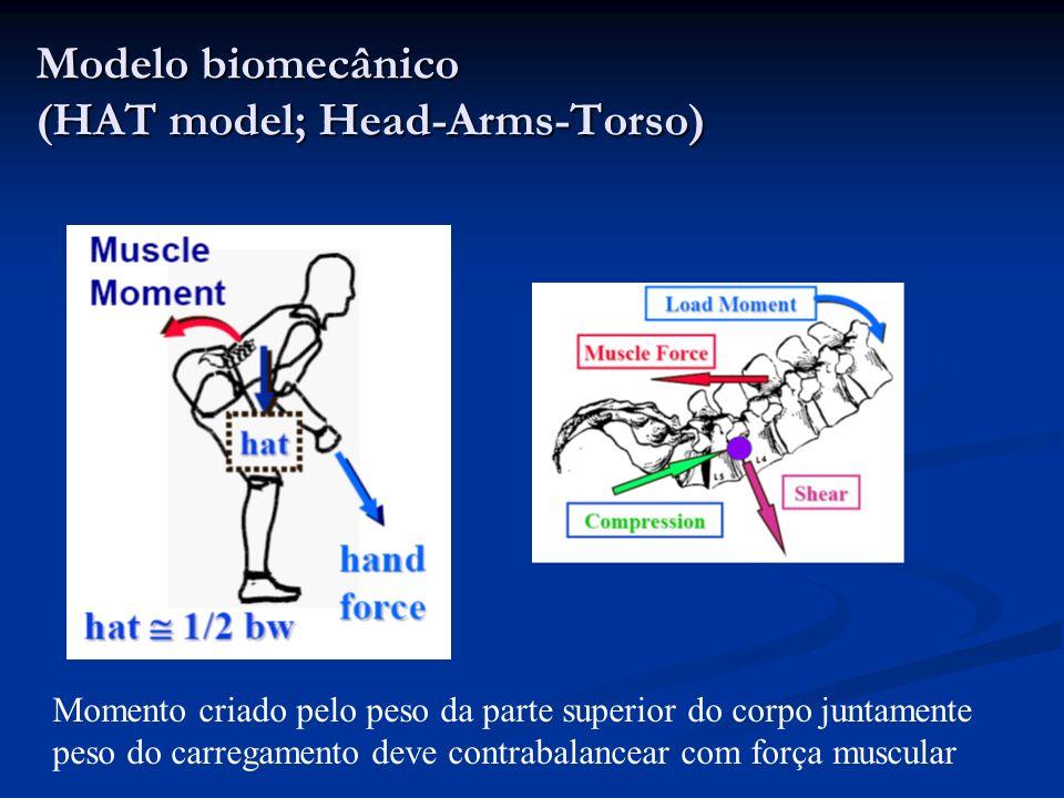 Modelo biomecânico (HAT model; Head-Arms-Torso) Momento criado pelo peso da parte superior do corpo juntamente peso do carregamento deve contrabalance