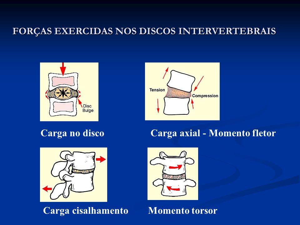 FORÇAS EXERCIDAS NOS DISCOS INTERVERTEBRAIS Carga axial - Momento fletor Carga cisalhamentoMomento torsor Carga no disco
