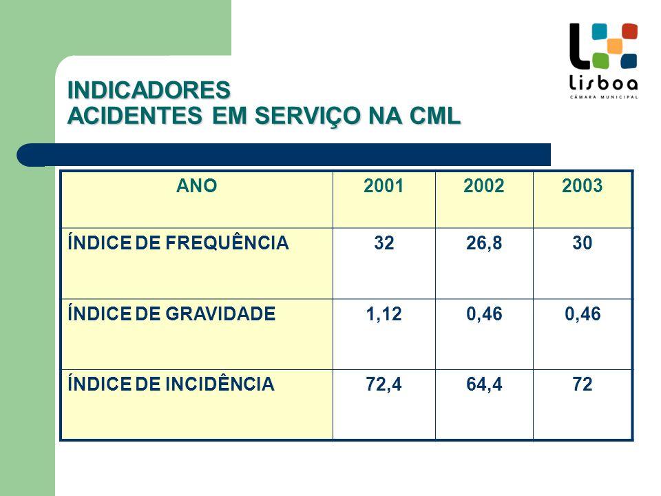 Direcção Municipal INDICADORES ACIDENTES EM SERVIÇO NA CML