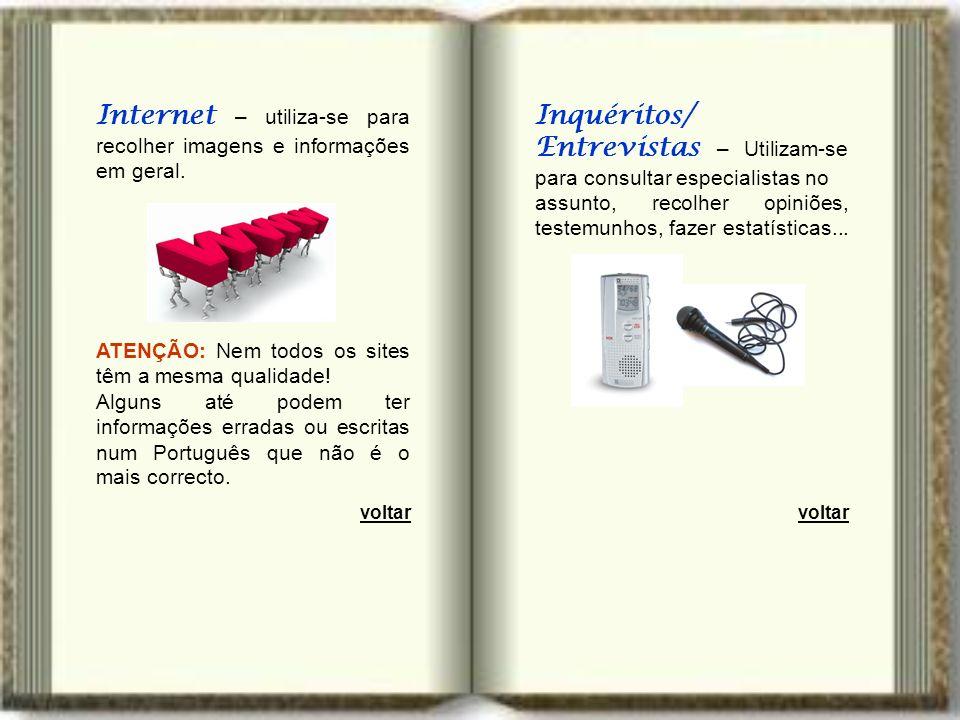 Internet – utiliza-se para recolher imagens e informações em geral.