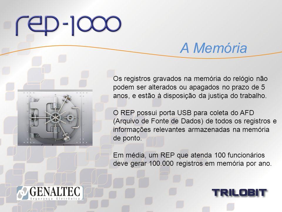 A Memória Os registros gravados na memória do relógio não podem ser alterados ou apagados no prazo de 5 anos, e estão à disposição da justiça do traba