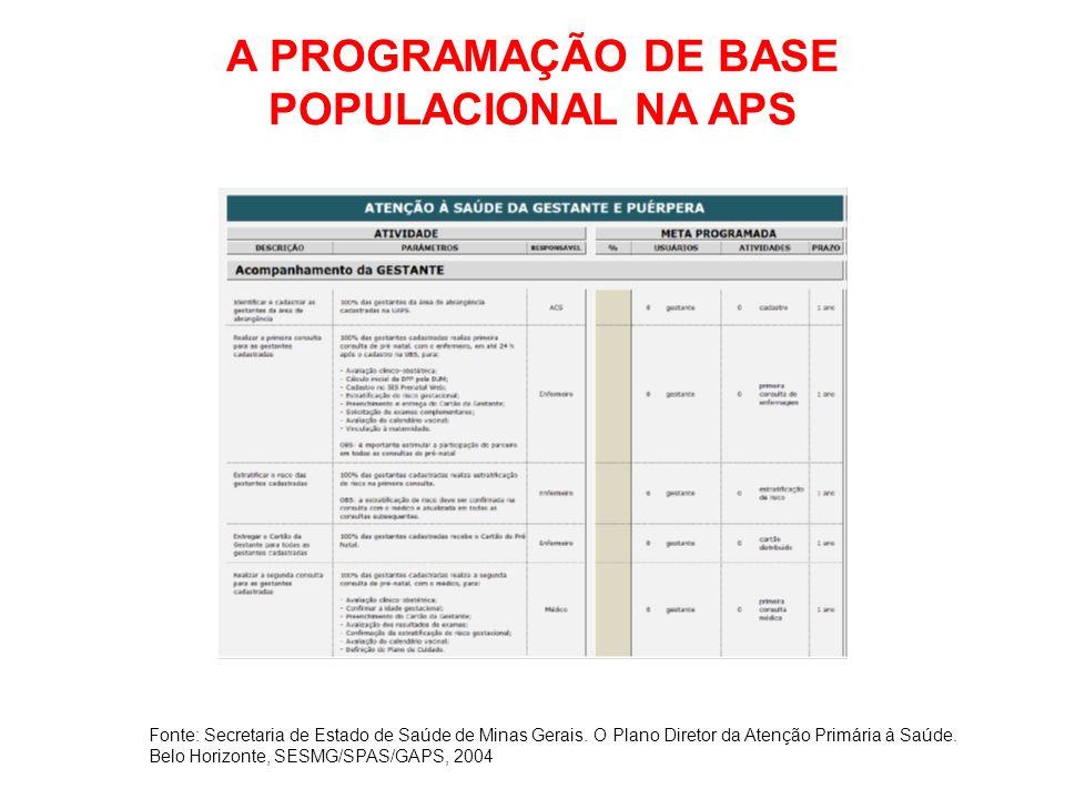 A PROGRAMAÇÃO DE BASE POPULACIONAL NA APS Fonte: Secretaria de Estado de Saúde de Minas Gerais. O Plano Diretor da Atenção Primária à Saúde. Belo Hori