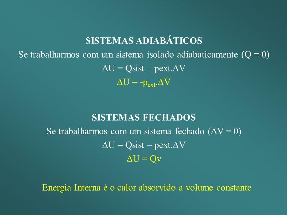 SISTEMAS ADIABÁTICOS Se trabalharmos com um sistema isolado adiabaticamente (Q = 0) U = Qsist – pext.