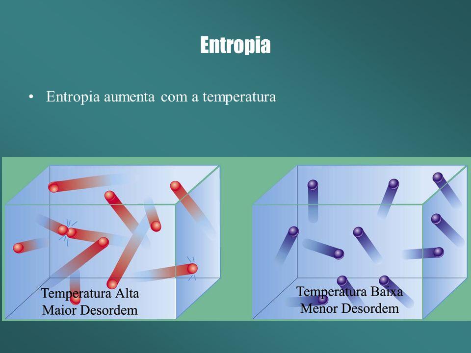 Entropia Entropia aumenta com a temperatura