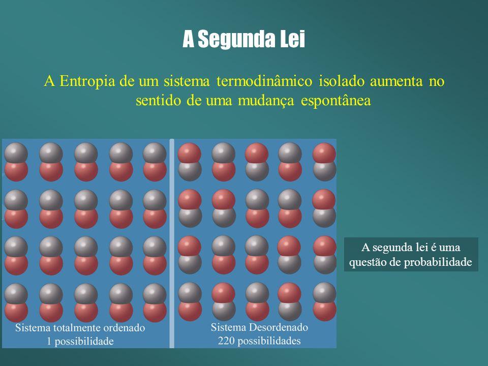 A Segunda Lei A Entropia de um sistema termodinâmico isolado aumenta no sentido de uma mudança espontânea A segunda lei é uma questão de probabilidade
