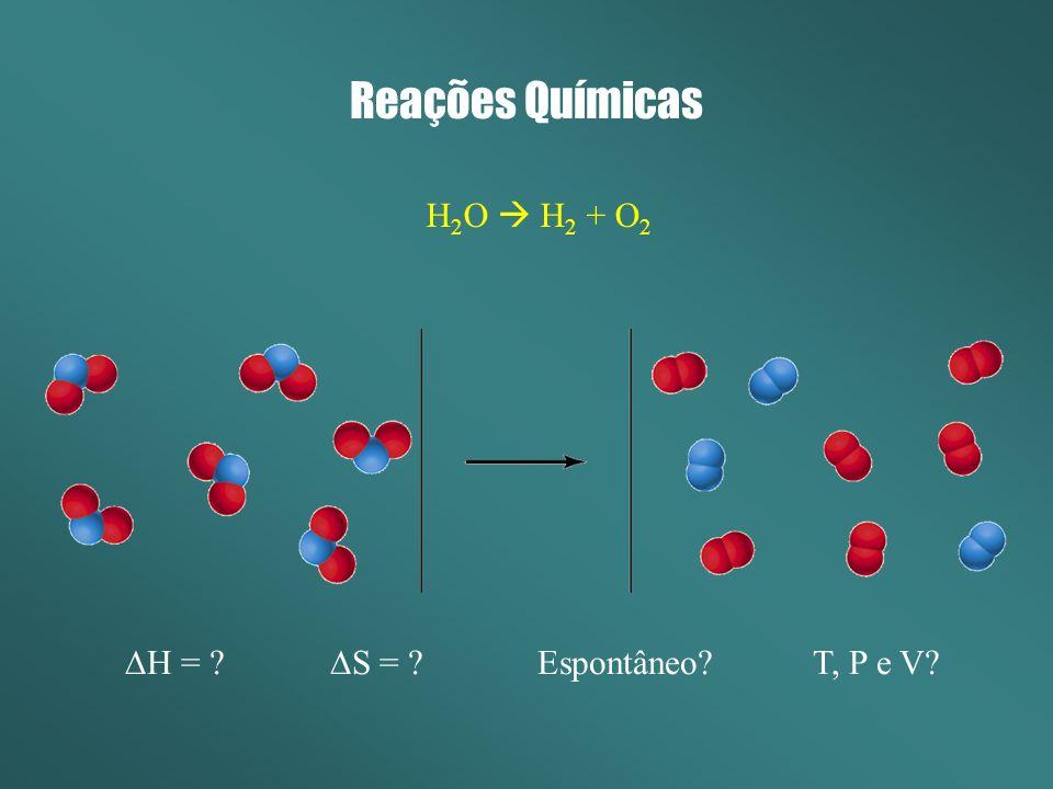 Reações Químicas H 2 O H 2 + O 2 H = ? S = ? Espontâneo? T, P e V?