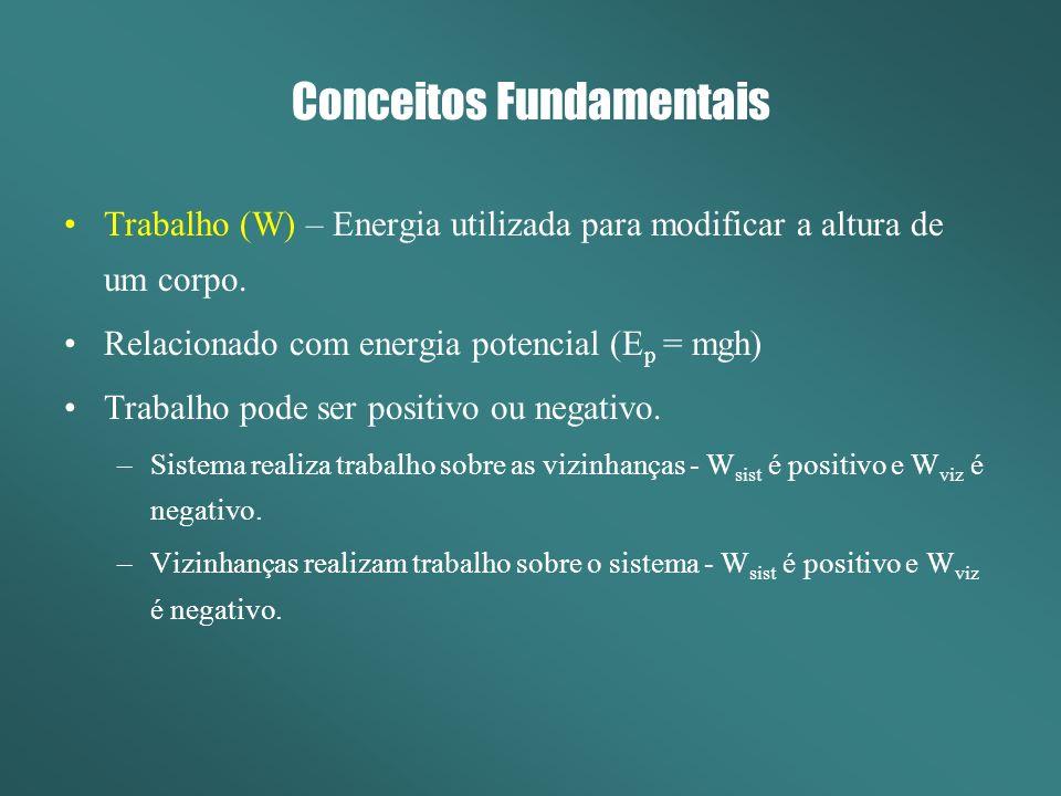 Conceitos Fundamentais Calor (Q) – Energia utilizada para modificar temperatura de um corpo.