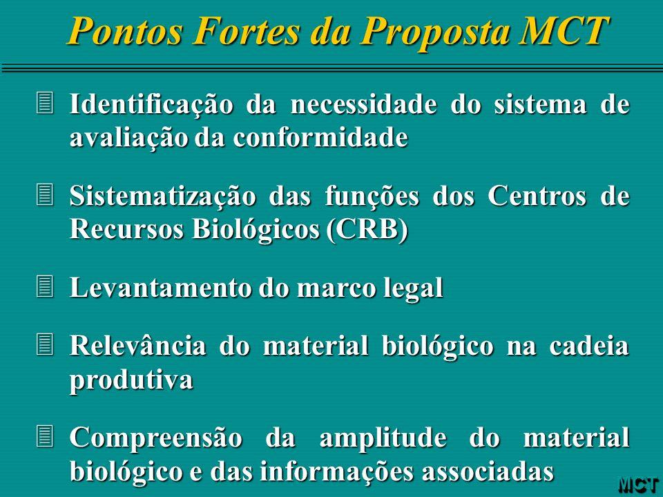 3Identificação da necessidade do sistema de avaliação da conformidade 3Sistematização das funções dos Centros de Recursos Biológicos (CRB) 3Levantamen