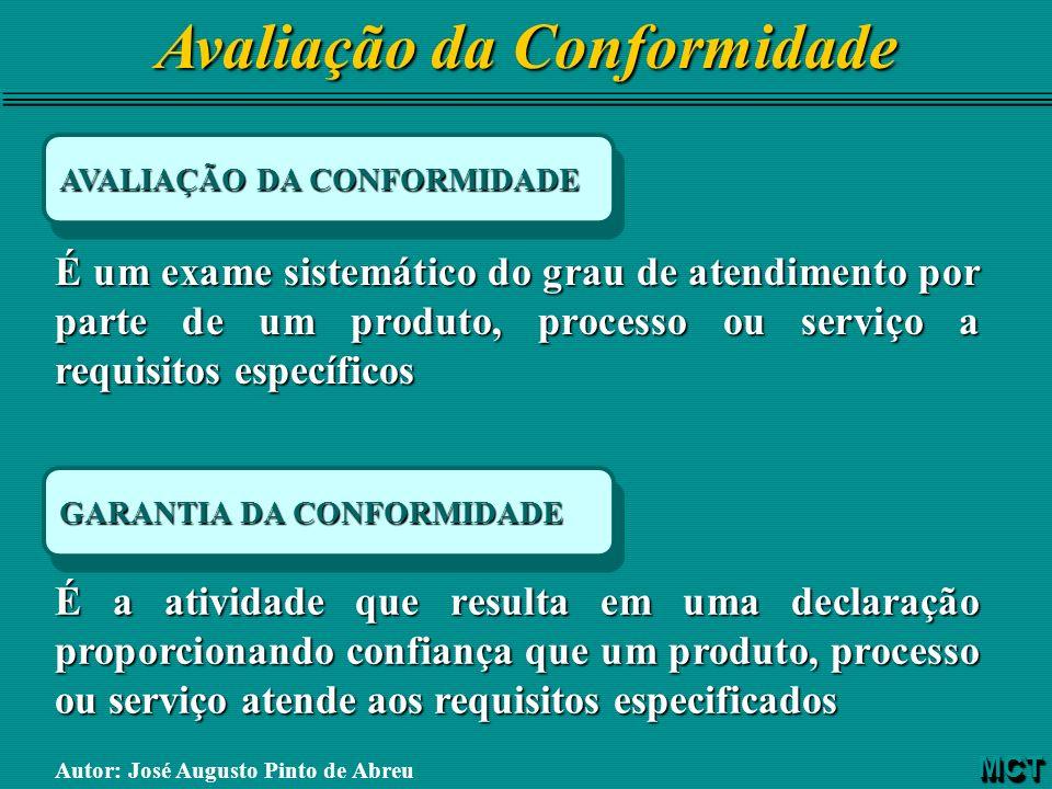 Avaliação da Conformidade AVALIAÇÃO DA CONFORMIDADE É um exame sistemático do grau de atendimento por parte de um produto, processo ou serviço a requi