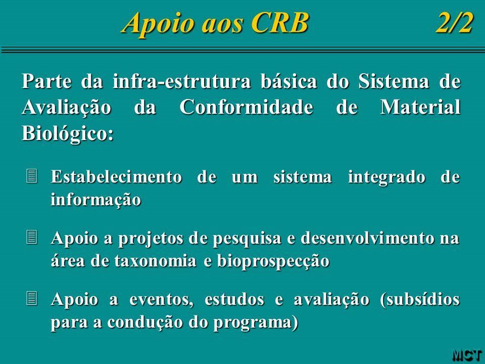 Apoio aos CRB 2/2 Apoio aos CRB 2/2 Parte da infra-estrutura básica do Sistema de Avaliação da Conformidade de Material Biológico: 3Estabelecimento de