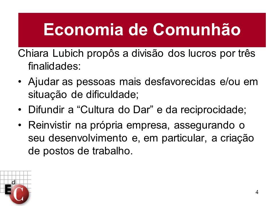 4 Chiara Lubich propôs a divisão dos lucros por três finalidades: Ajudar as pessoas mais desfavorecidas e/ou em situação de dificuldade; Difundir a Cu