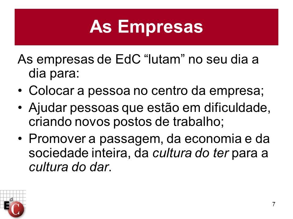 7 As empresas de EdC lutam no seu dia a dia para: Colocar a pessoa no centro da empresa; Ajudar pessoas que estão em dificuldade, criando novos postos